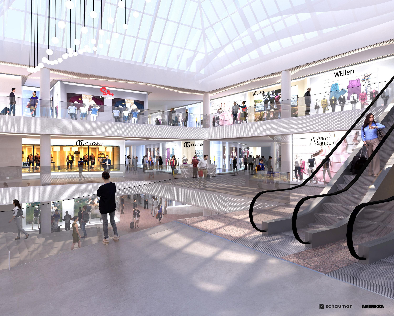 Köpcenter med rulltrappa.