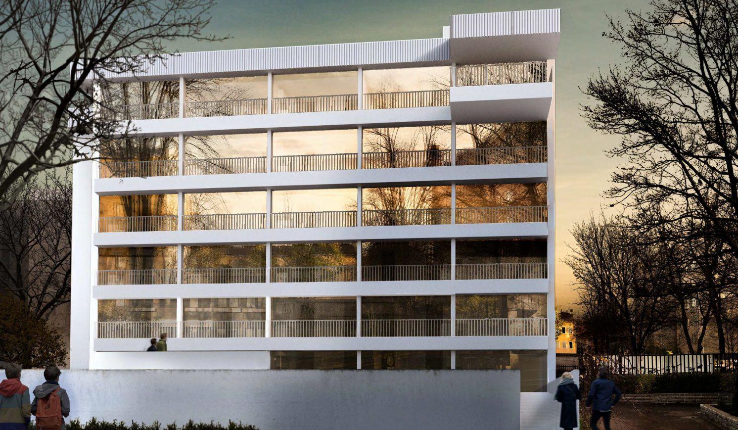 Ett höghus med sju våningar.