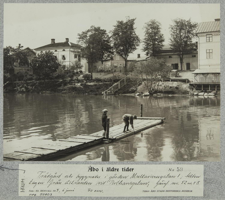 Pojkar leker på en brygga i ån.
