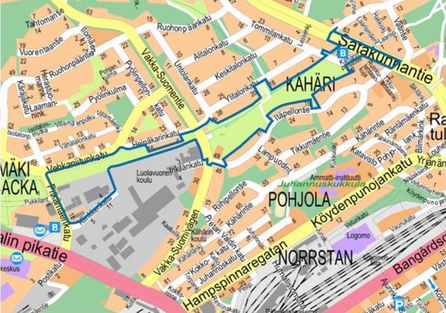 Karta över stadsdelen Långbacka i Åbo