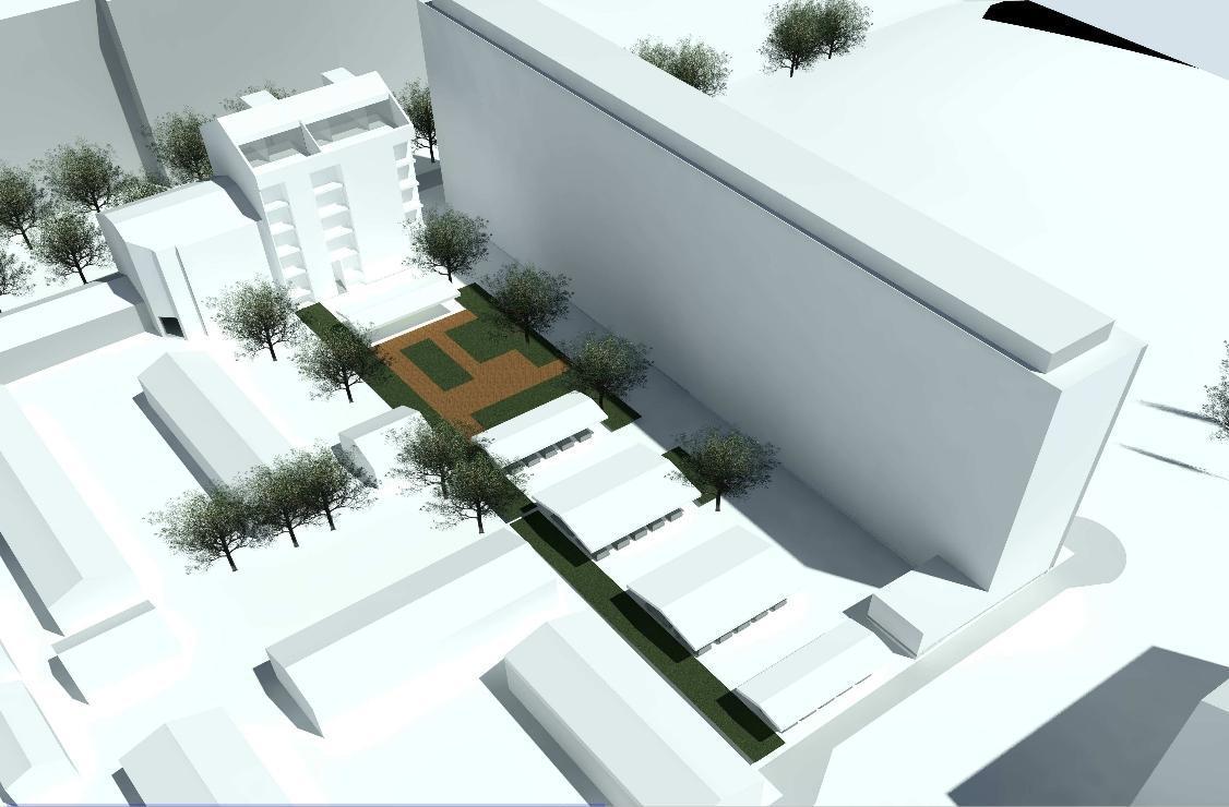 Illustration över ett nytt hus i 5,5 våningar som planeras i stadsdelen Port Arthur