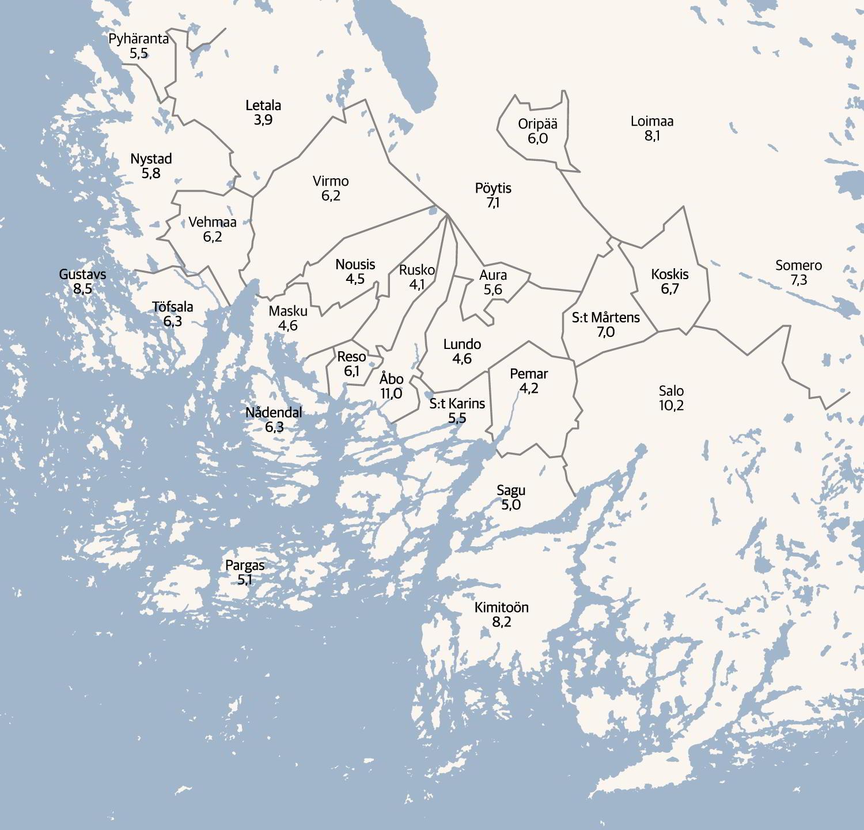 Karta som föreställer Egentliga Finland med arbetslösheten utsatt i procent.