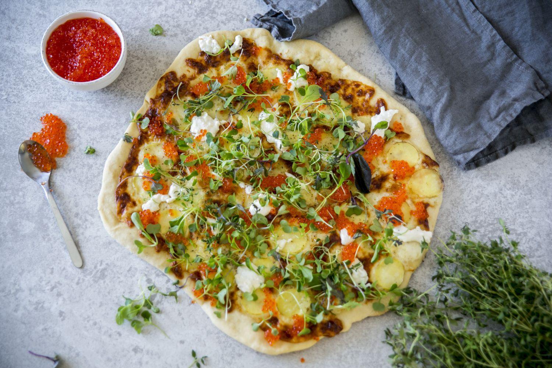 En så kallad vit pizza utan tomtatsås