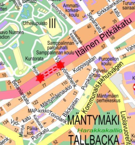 Karta över området som berörs av servicearbetet.