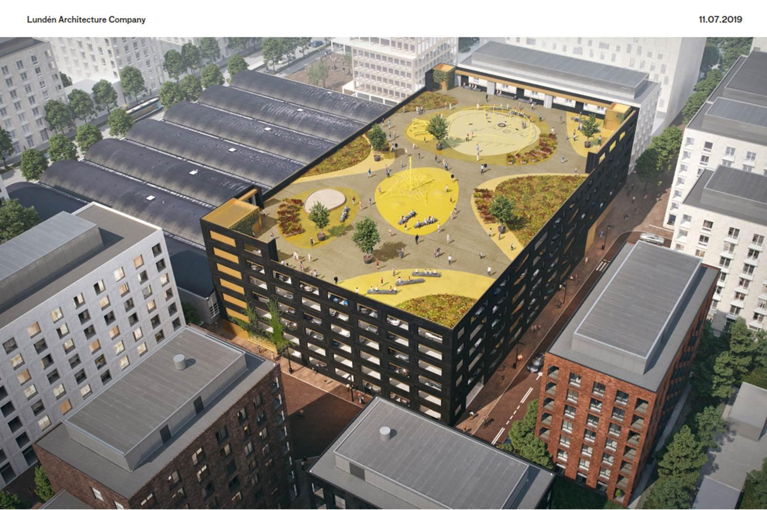 Visionsbild av parkeringshuset där man ser fritidsområdet på taket.