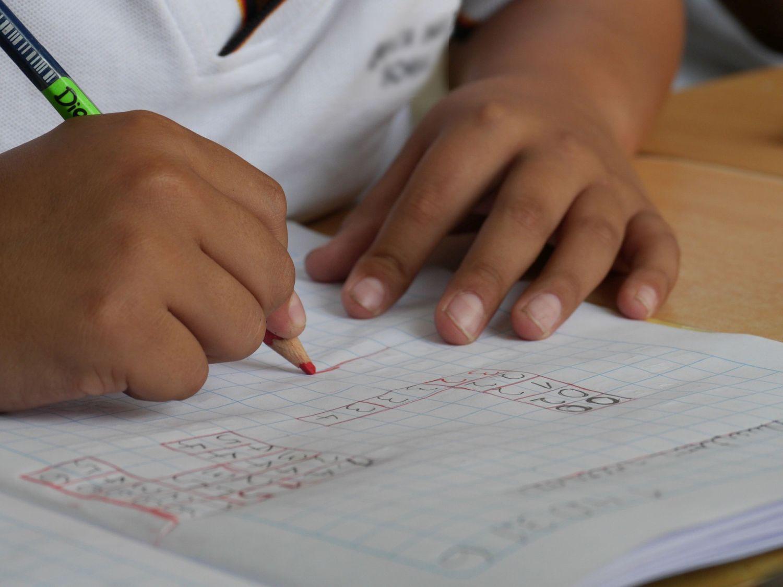 På bilden syns ett barns händer som skriver i ett skolhäfte.