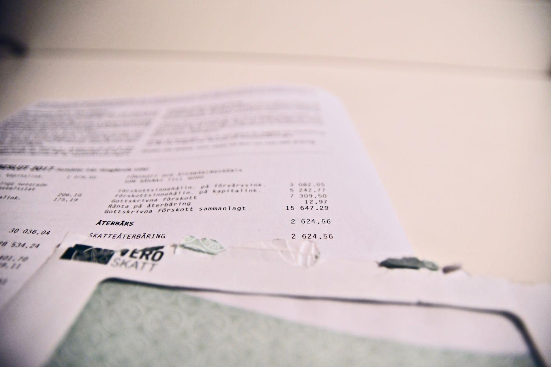 Bild på ett brev från skatteverket.