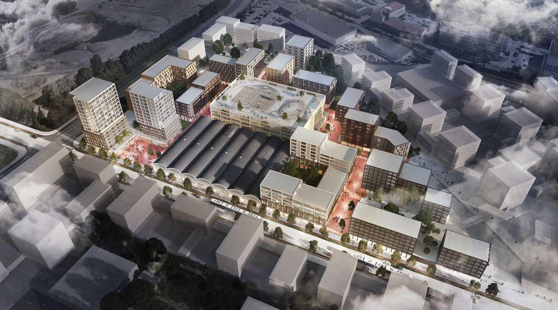 Visionsbild över nytt bostadsområde.