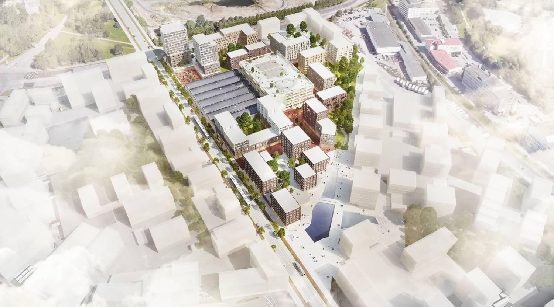 Visionsbild som föreställer ett bostadsområde från ovan.