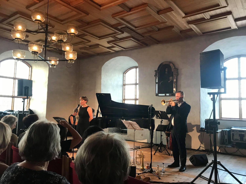 Bild av sångerska och musiker samt publik