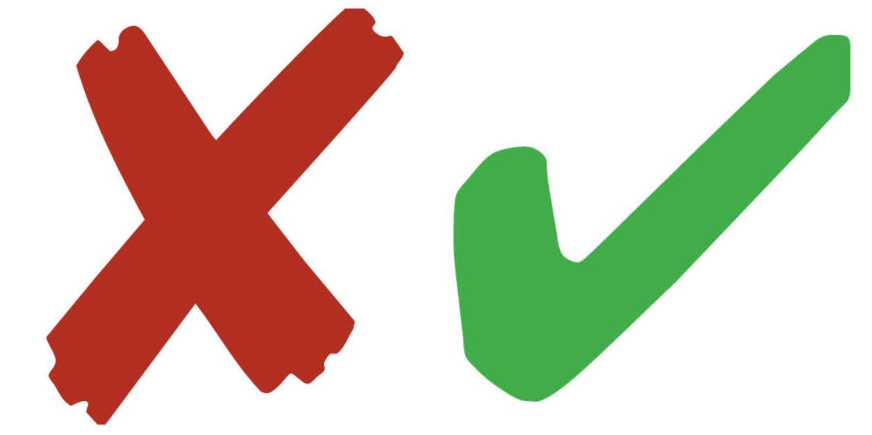 Ett rött kryss och en grön bock.