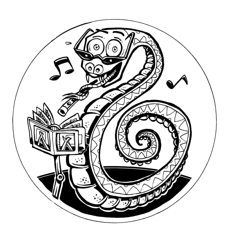 En ritad bild som föreställer en drake.