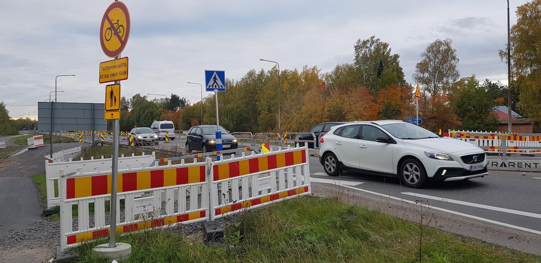 Korsning med tillfälliga trafikarrangemang