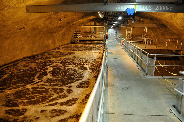 Bassäng där avloppsvatten renas.