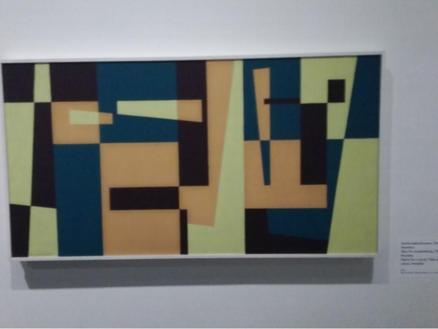 tavla i modernistisk stil, många färger och streck