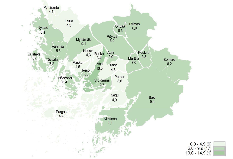Karta med arbetslöshetssiffror