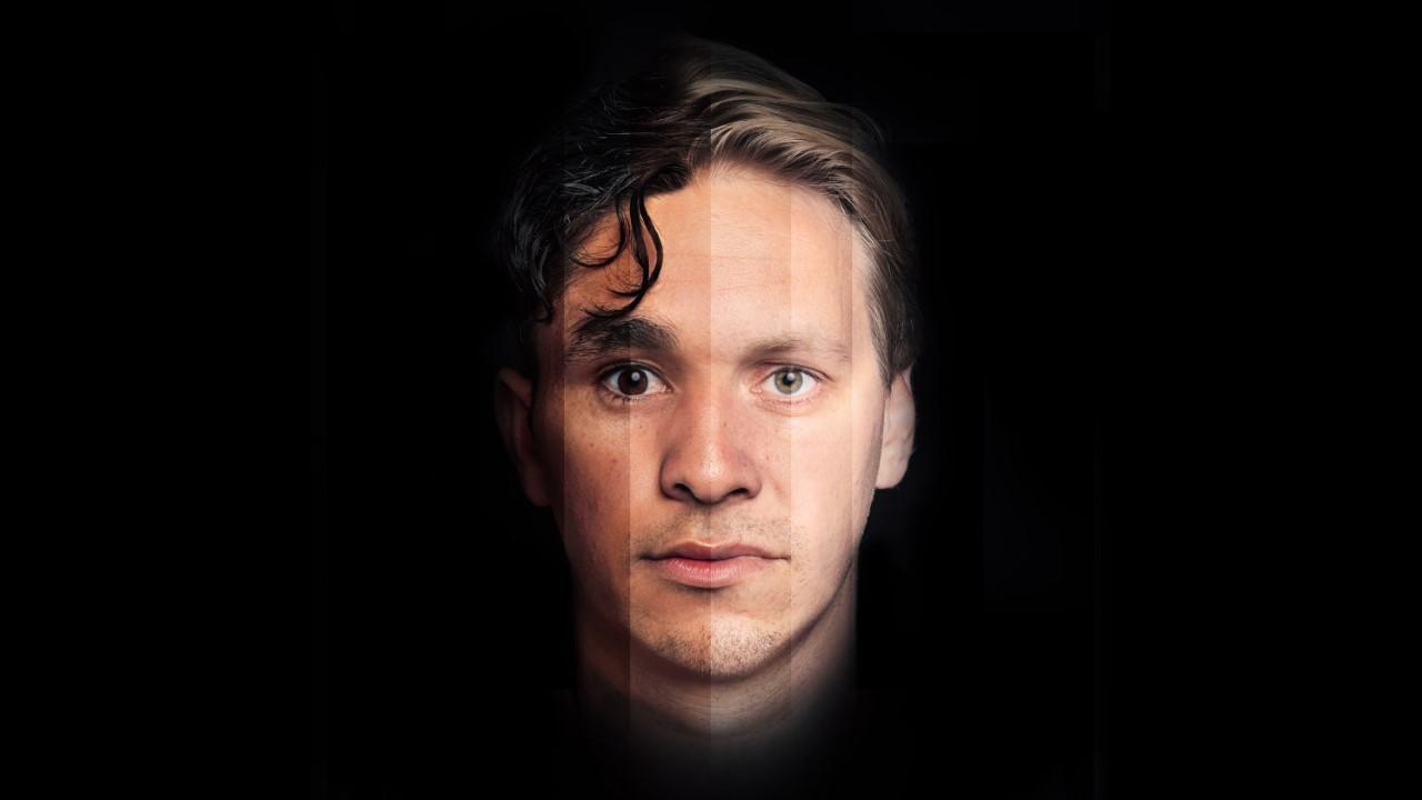 """En röst flera ansikten. Jakob Öhrman har rollen som berättaren i Svenska Yle:s hörspelsversion av """"White Monkey"""", men pressbilden är ett konglomerat att flera ansikten för att uppmärksamma den allmänna aspekten mer än den individuella."""