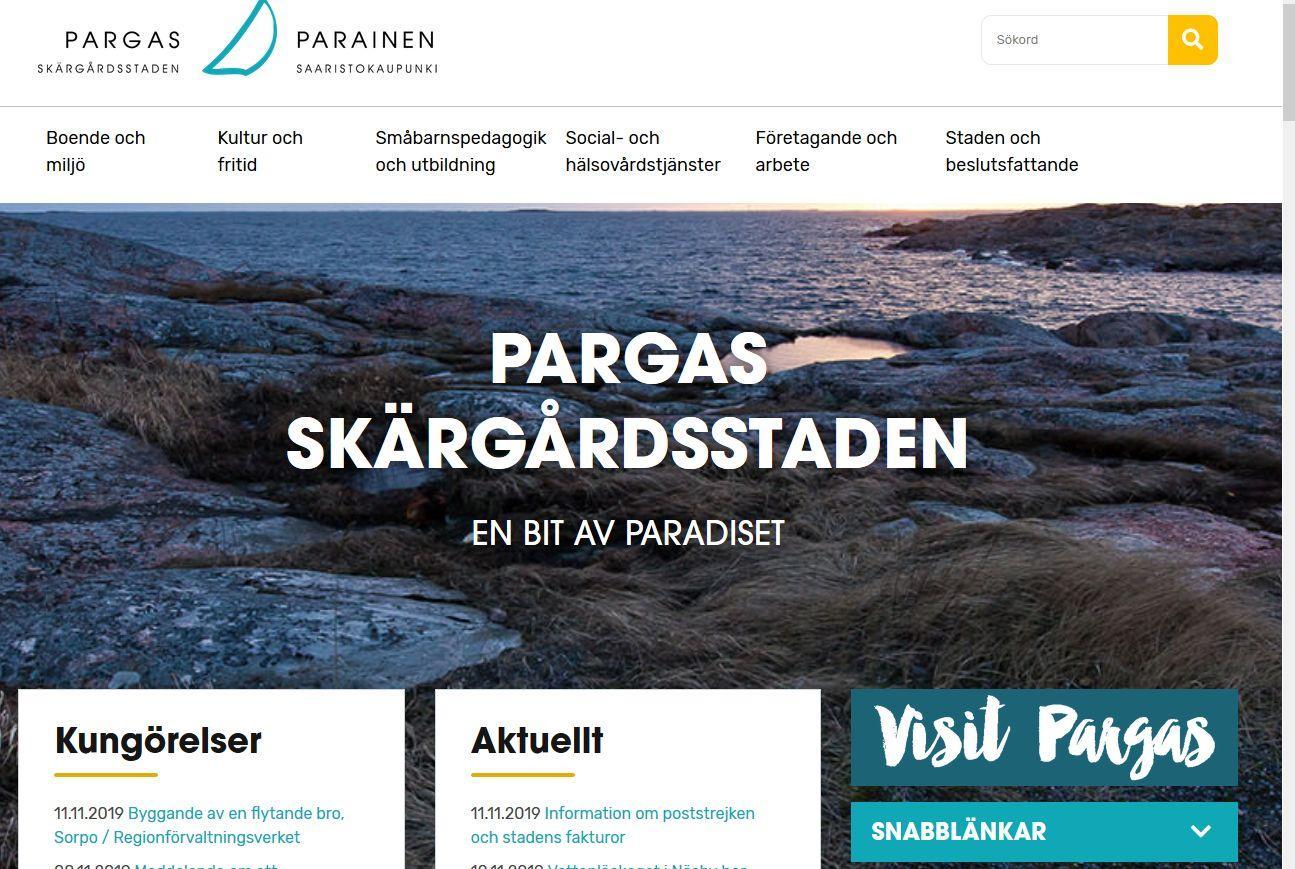 kopia av webbsida för pargas stad