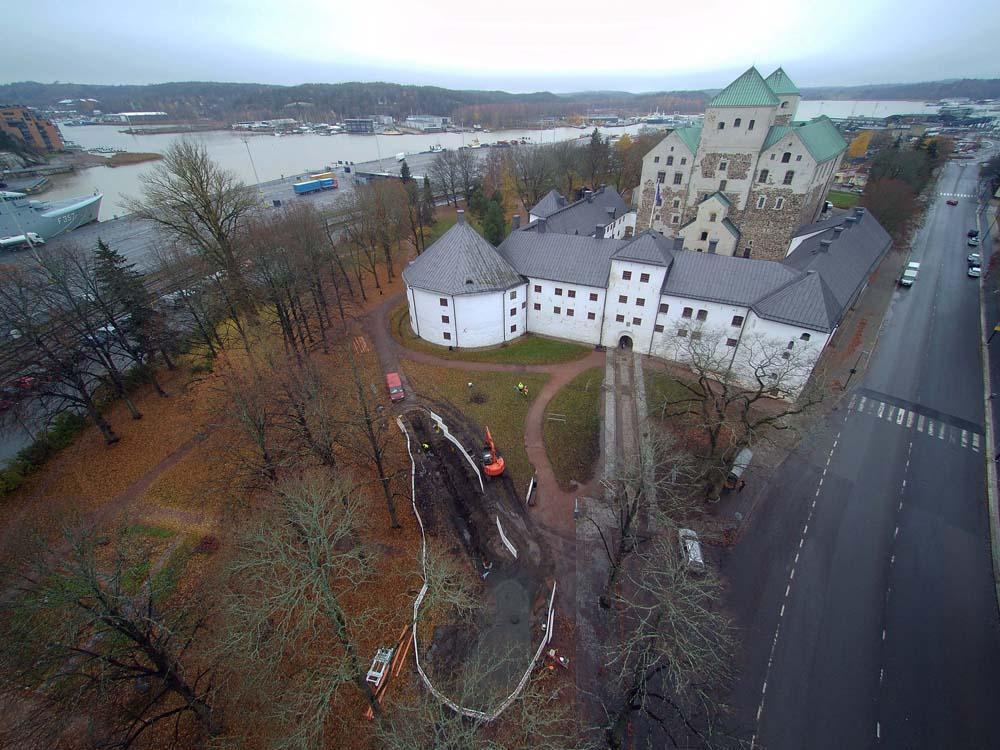 Flygbild över Åbo slott