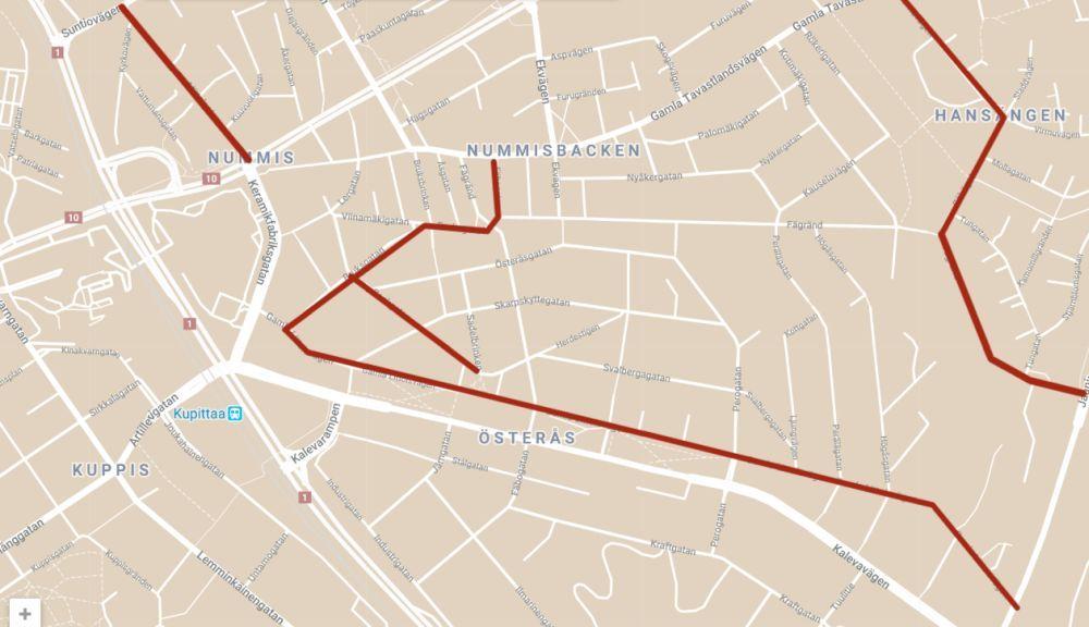 Karta över ett bostadsområde med vägar i Åbo.