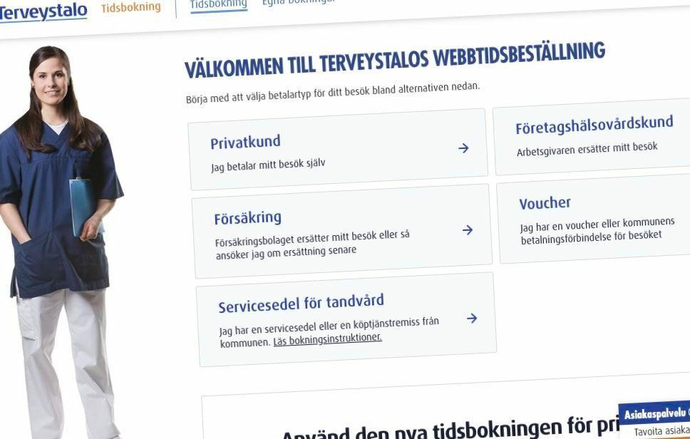 Skärmdum som föreställer Terveystalos sida för nätbokningar.