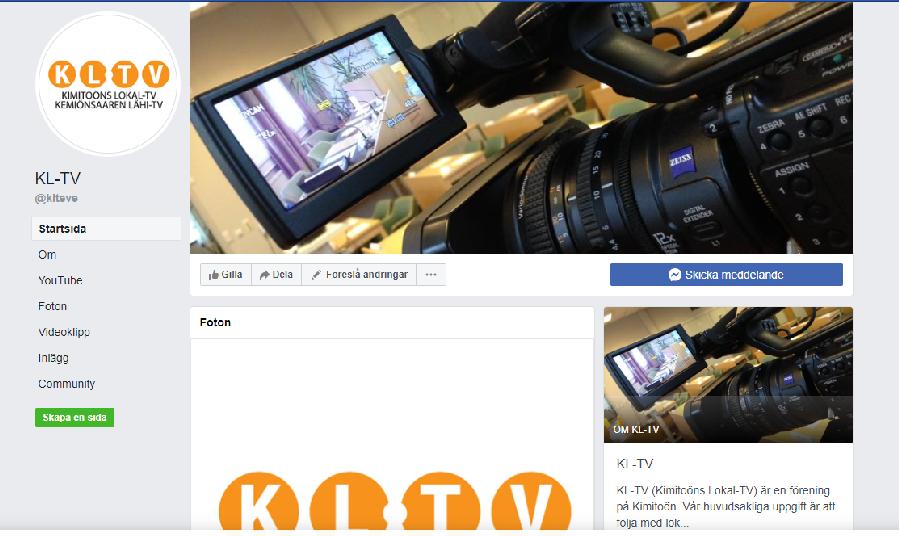 Skärmdump från KL-TV:s Facebooksida