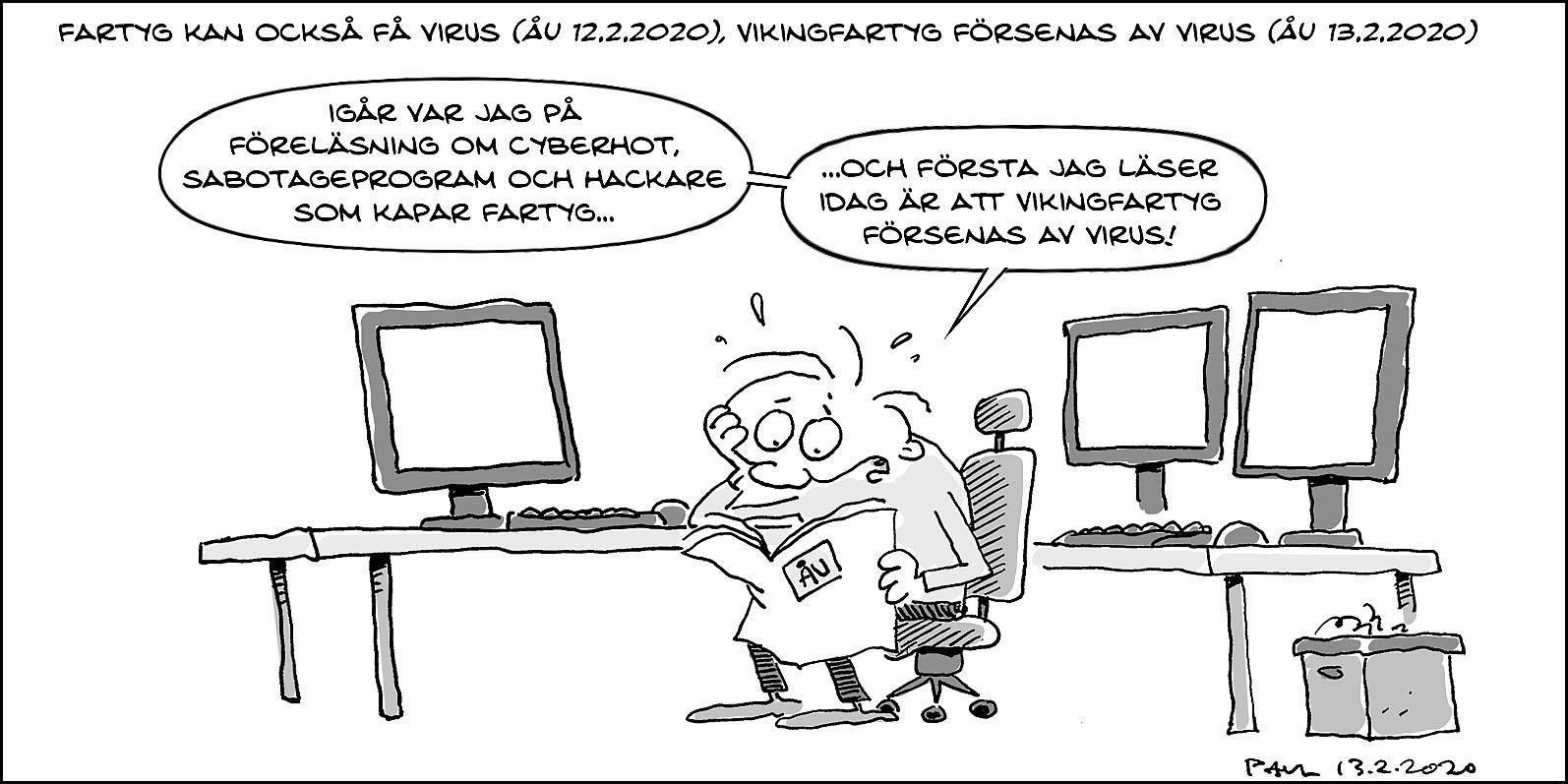 tecknad seriestrip om fartygsvirus