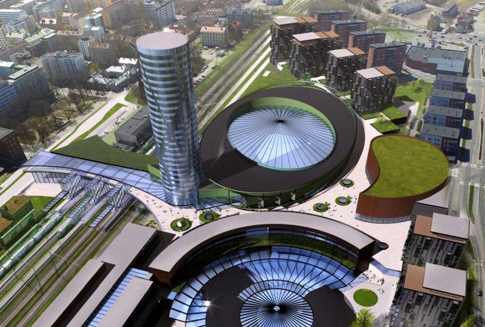 En arkitekvision med stora runda byggander.