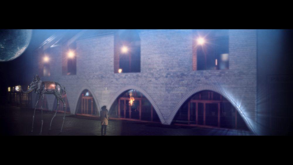Drömlikbild av ett tegelhus med valv.