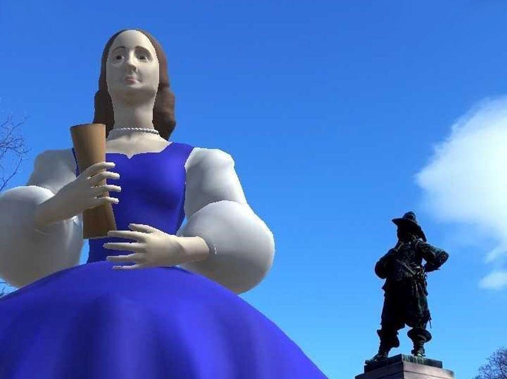 Datorsimulation av kvinna och staty
