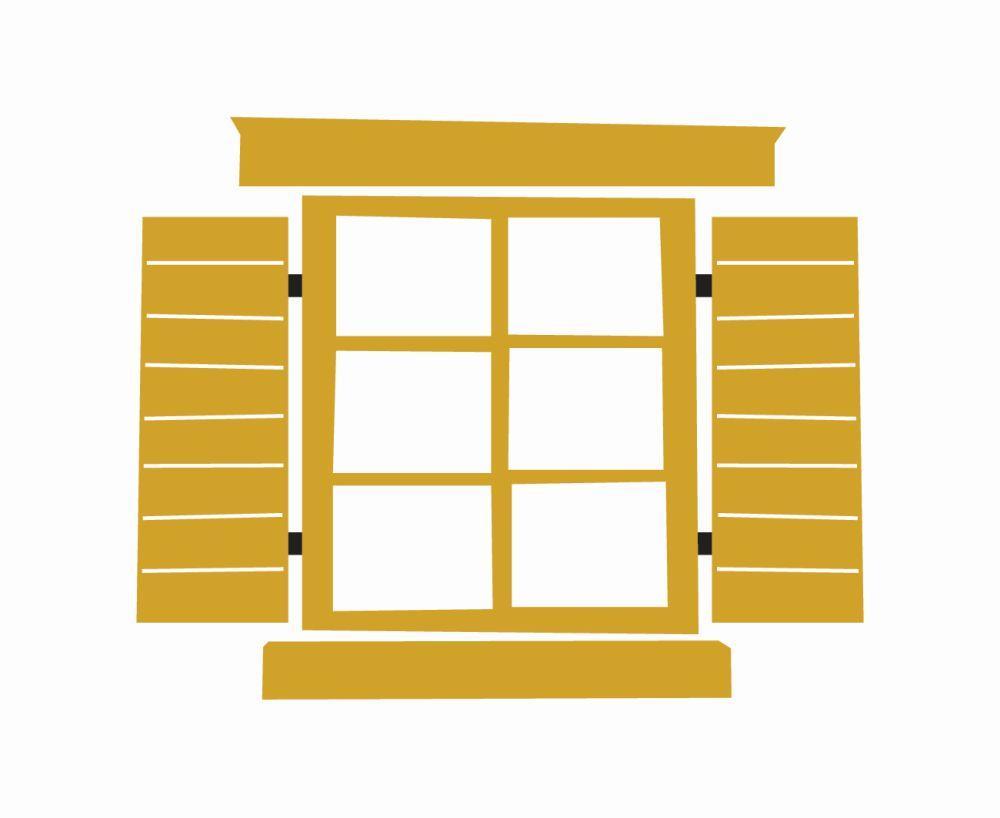 En stiliserad bild i gult av ett fönster med öppna fönsterluckor