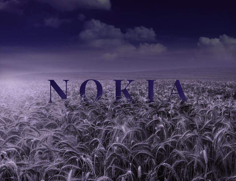 """digitalproducerad bild av en åker med texten """"NOKIA"""""""