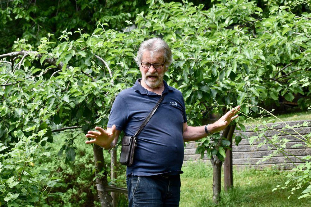 En äldre man står och pratar omringad av buskar och träd.