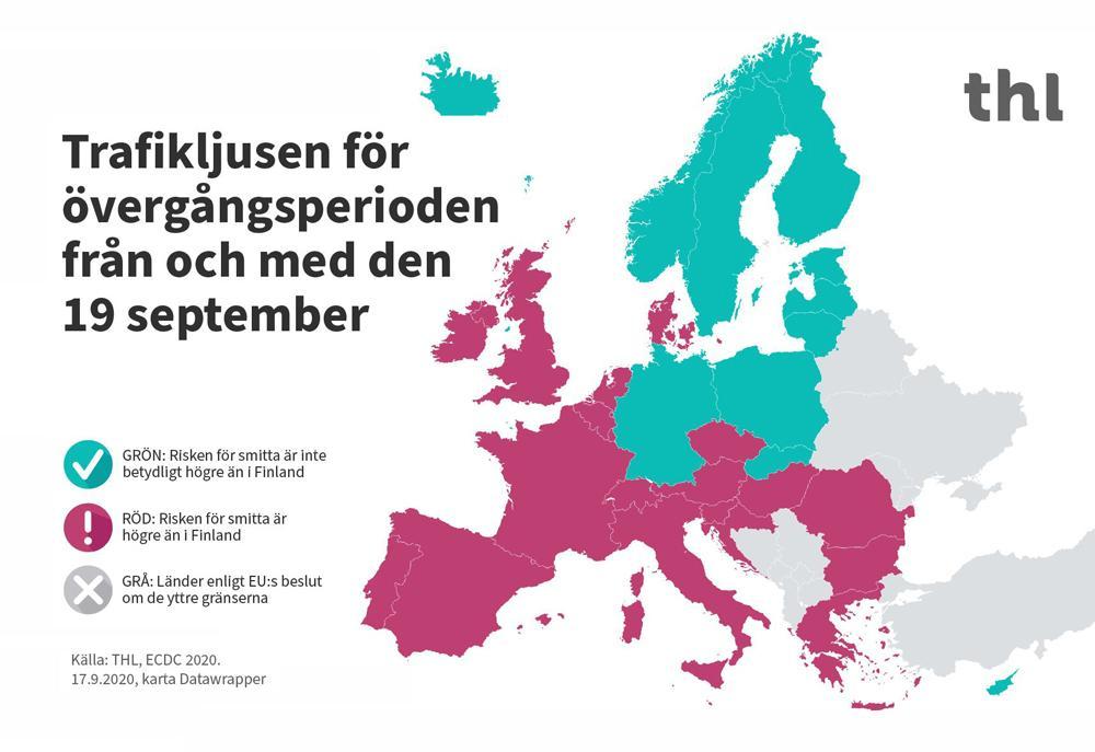 Karta över smittläget i Europa